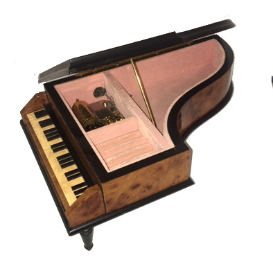 Open view of Vintage Piano with Instrumental Inlay, 36 notes
