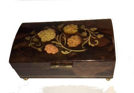 Vintage Floral Inlay on Italian walnut music box