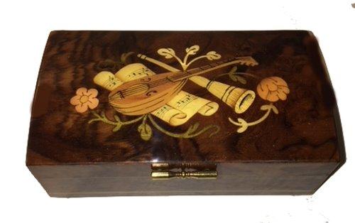 vintage Italian mandolin inlay on walnut music box