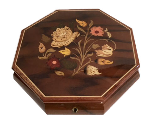 Vintage Octagon Jewelry Box with Floral Inlay