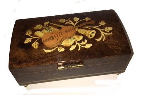 Vintage Violin Inlay on Walnut box