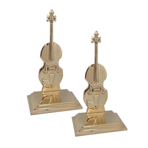 Brass Violin Bookends