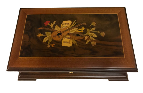 An Elegant Inlaid Guitar Pattern on a 3.72 Walnut Music Box