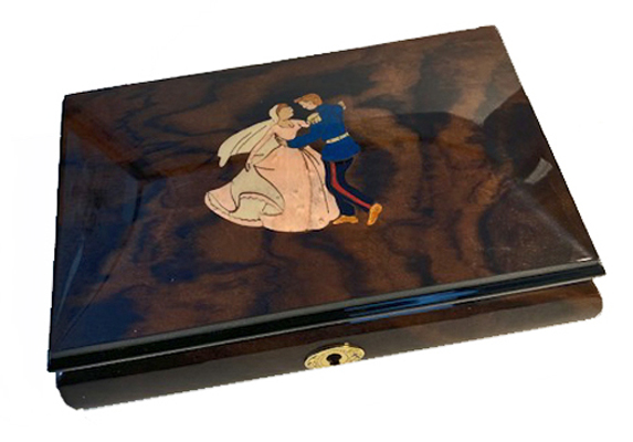 Waltzing Couple Italian Inlay on Walnut Musical Box