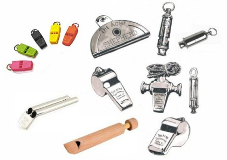 group of acme whistles, includes the Bobby, Siren, train, saftely, the shepherd, cog whistle, slide and   samba whistle