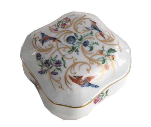 White Porcelain Music Box with Birds and Flowers by Reuge