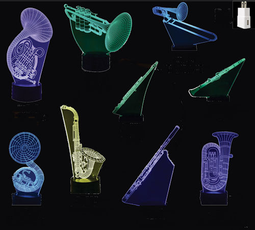 Selection of 3D acrylic LED wind instruments