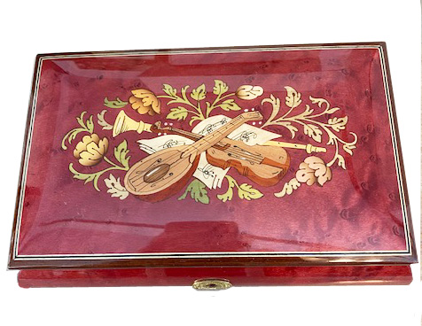 Instrumental and Floral Inlay on Wine Red Musical Box