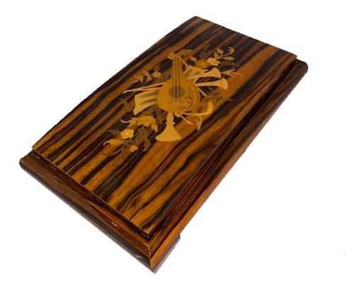 Zebra wood with Italian Instrumental Inlay, Musical Box 3.72 notes
